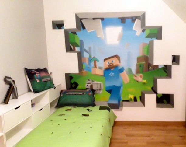 minecraft peintures murales and peintures murales on. Black Bedroom Furniture Sets. Home Design Ideas