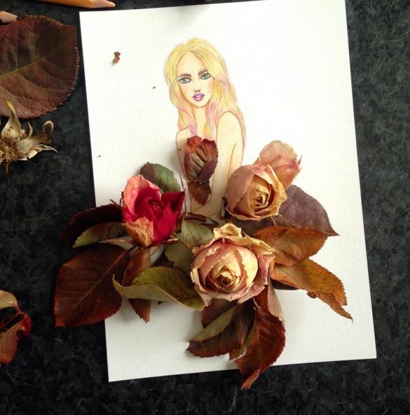 dessin robe bouquet