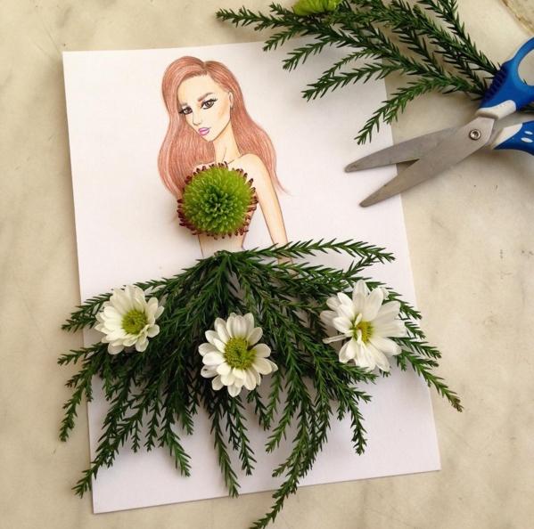 dessin robe branches