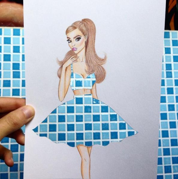 dessin robe carrelage