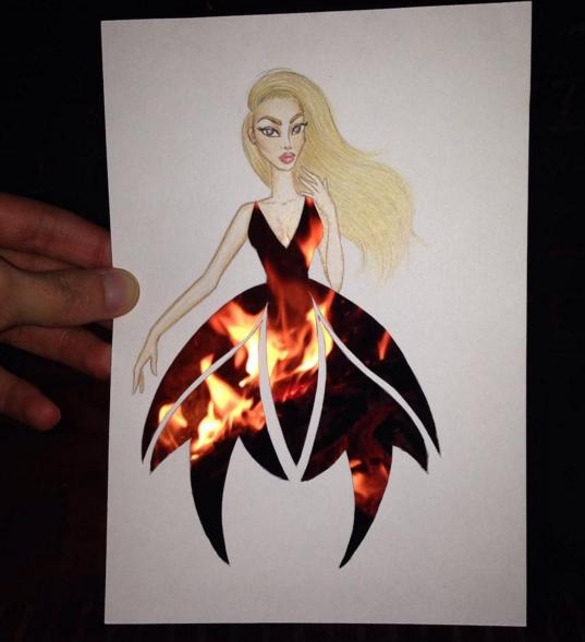 dessin robe feu