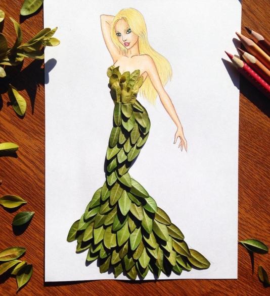 dessin robe feuilles vertes
