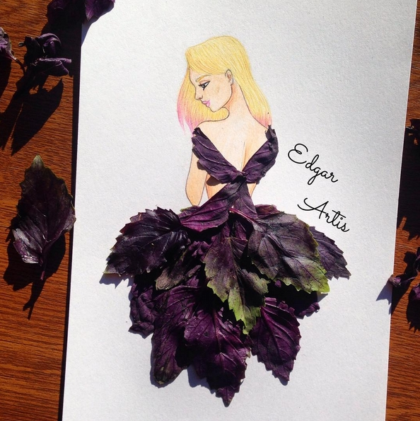 dessin robe feuilles