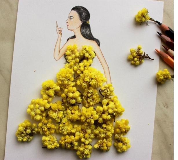 dessin robe fleurs jaunes