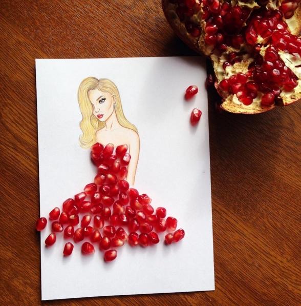 dessin robe fruits