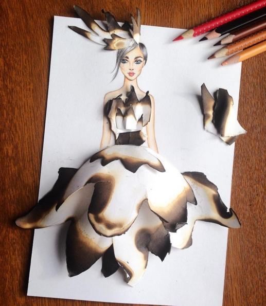 dessin robes feuilles brulees