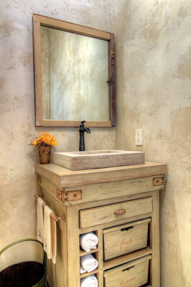 fabriquer meuble salle de bain en bois et pierre