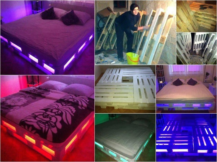 Faire Lit Palette Bois : DIY Pallet Bed Frame with Lights