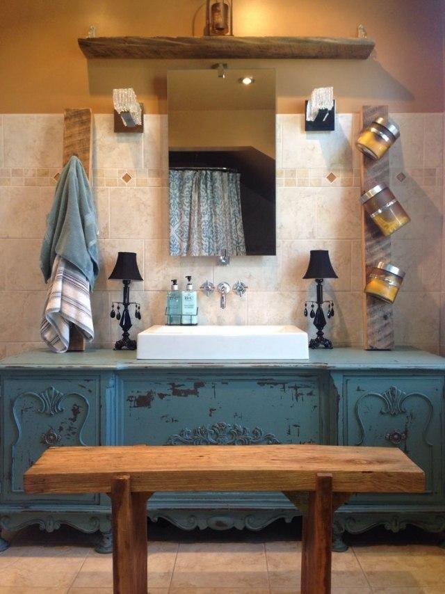 meuble salle de bain vasque bleu
