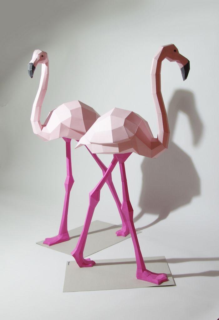 papercraft flamand rose oiseau